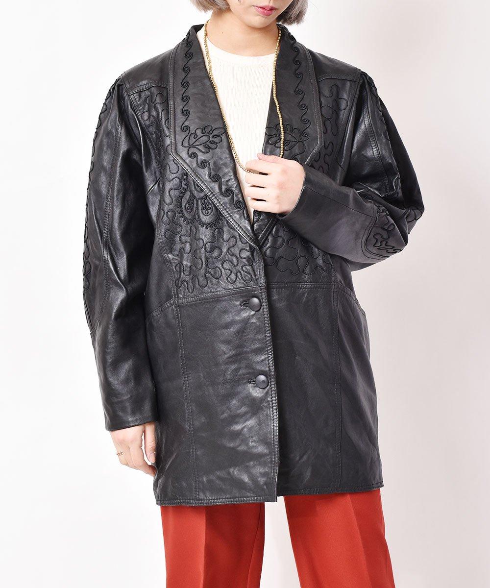 古着 イタリア製 デザインステッチ レザージャケット 古着 ネット 通販 古着屋グレープフルーツムーン