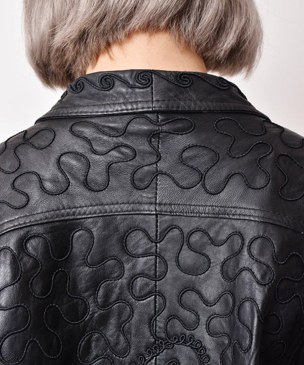イタリア製 デザインステッチ レザージャケットサムネイル