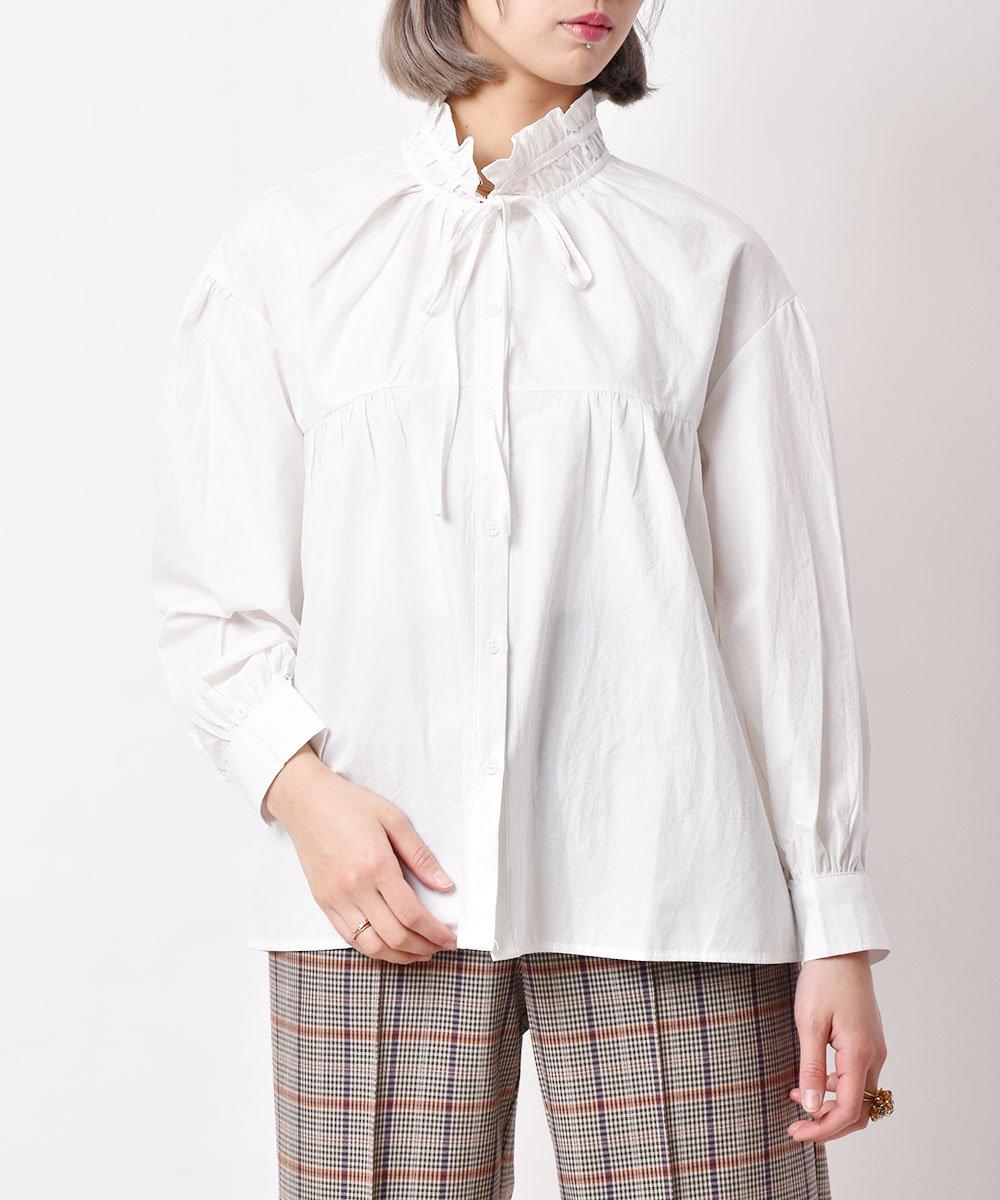古着 「Elcamino」 フリルカラ— ブラウス ホワイト 古着 ネット 通販 古着屋グレープフルーツムーン