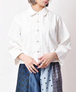 古着【3色展開】チャイナボタン ブラウス ホワイト 古着のネット通販 古着屋グレープフルーツムーン