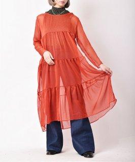 古着【3色展開】「meridian」 シースルー ワンピース オレンジ 古着のネット通販 古着屋グレープフルーツムーン