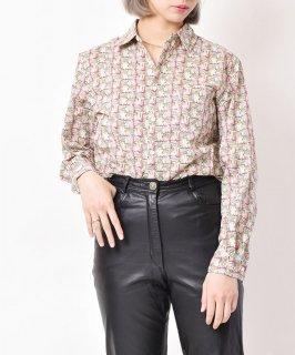 古着【2色展開】「Elcamino」総柄ロングスリーブコットンシャツ マッチ柄 ホワイト 古着のネット通販 古着屋グレープフルーツムーン