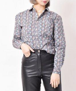 古着【2色展開】「Elcamino」総柄ロングスリーブコットンシャツ マッチ柄 ブルー 古着のネット通販 古着屋グレープフルーツムーン