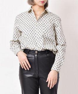 古着【2色展開】「Elcamino」小紋柄 ロングスリーブコットンシャツ ホワイト 古着のネット通販 古着屋グレープフルーツムーン