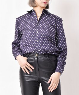 古着【2色展開】「Elcamino」小紋柄 ロングスリーブコットンシャツ ネイビー 古着のネット通販 古着屋グレープフルーツムーン