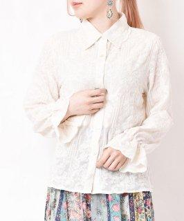 古着【2色展開】「meridian」総刺繍 ロングスリーブブラウス ベージュ 古着のネット通販 古着屋グレープフルーツムーン
