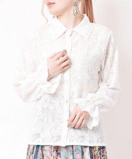 古着【2色展開】「meridian」総刺繍 ロングスリーブブラウス ホワイト 古着のネット通販 古着屋グレープフルーツムーン