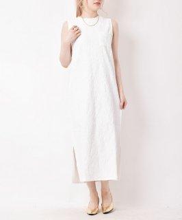 古着【3色展開】「meridian」ジャカード織り ノースリーブワンピース ホワイト 古着のネット通販 古着屋グレープフルーツムーン