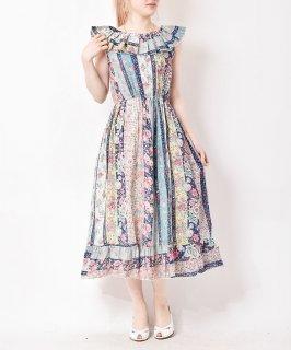 古着【2色展開】「Emerald Motel」ラッフルカラー 花柄ワンピース ホワイト 古着のネット通販 古着屋グレープフルーツムーン