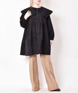 古着【2色展開】「meridian」ビッグカラー プルオーバーワンピース ブラック 古着のネット通販 古着屋グレープフルーツムーン