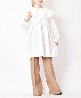古着【2色展開】「meridian」ビッグカラー プルオーバーワンピース ホワイト 古着のネット通販 古着屋グレープフルーツムーン