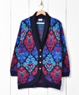古着イギリス製 ショールカラー サイケデザイン カーディガン 古着のネット通販 古着屋グレープフルーツムーン