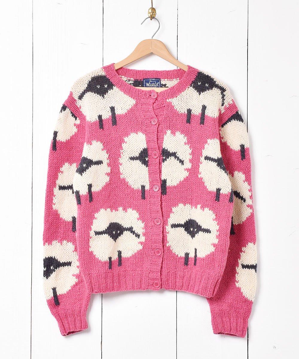 古着 「Wool rich」 羊柄 カーディガン 古着 ネット 通販 古着屋グレープフルーツムーン