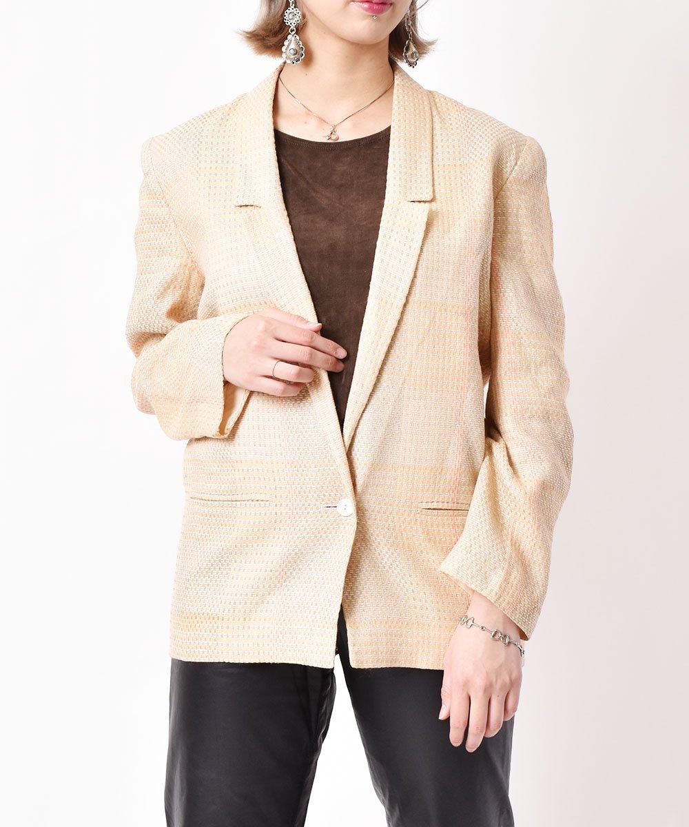 古着 イタリア製 チェック柄ジャケット  古着 ネット 通販 古着屋グレープフルーツムーン