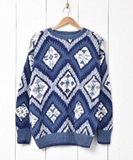 古着ダイヤパターン コットンニットセーター 古着のネット通販 古着屋グレープフルーツムーン