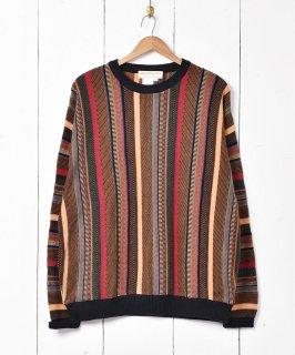 古着カナダ製 立体編み ストライプ柄 コットンニットセーター 古着のネット通販 古着屋グレープフルーツムーン
