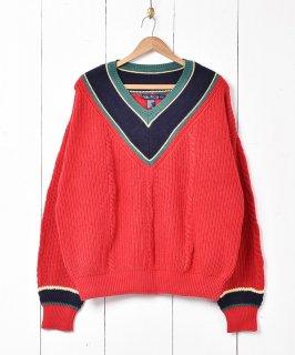 古着「nautica」チルデン コットンニット セーター レッド 古着のネット通販 古着屋グレープフルーツムーン