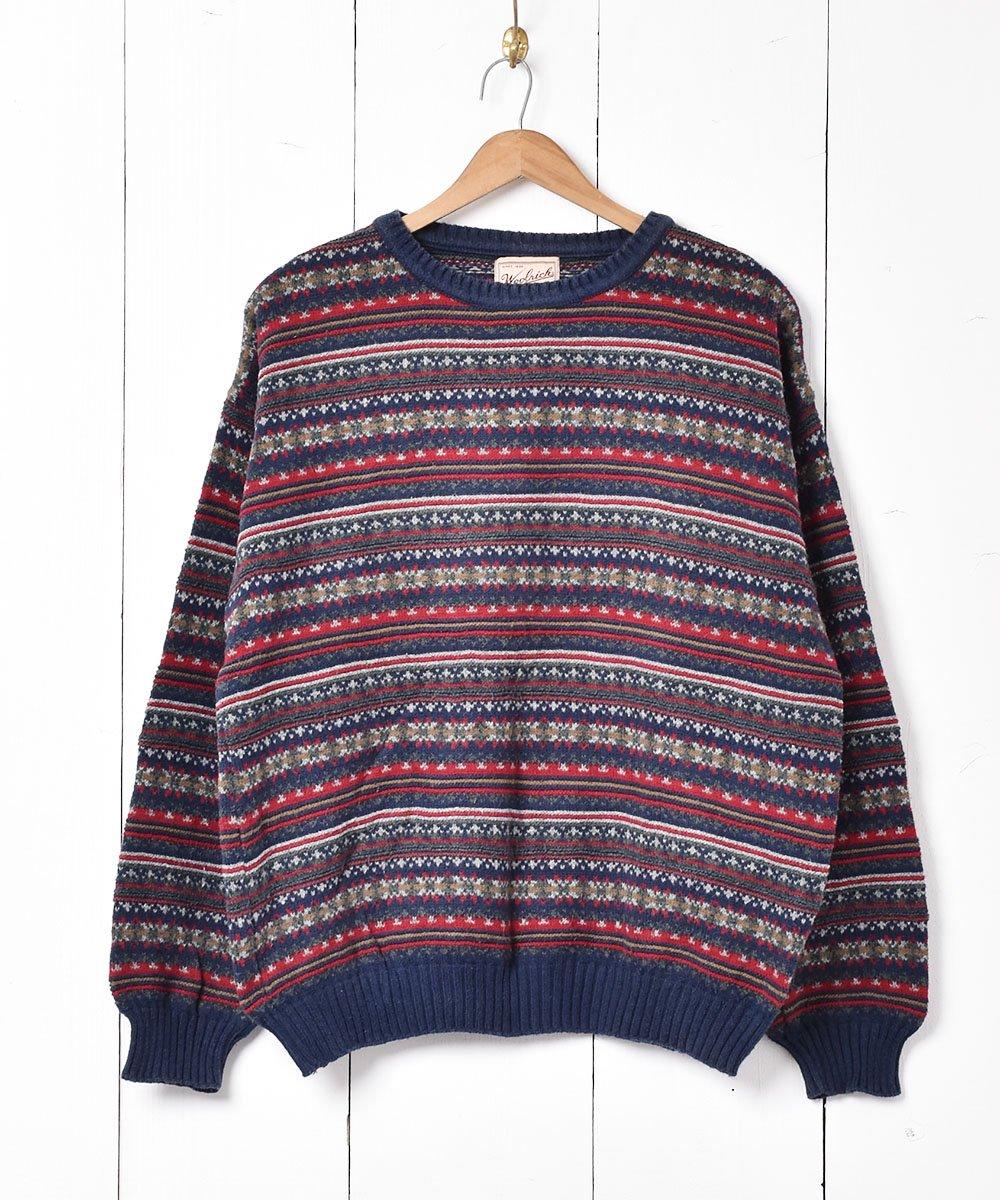 古着 アメリカ製「Woolrich」フェアアイル調 コットンニットセーター 古着 ネット 通販 古着屋グレープフルーツムーン