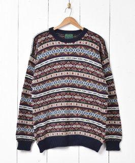 古着ヨーロッパ製 フェアアイル コットンニットセーターマルチカラー 古着のネット通販 古着屋グレープフルーツムーン