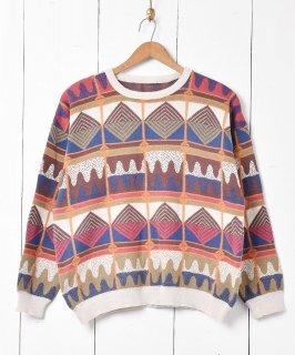 古着ヨーロッパ製 幾何学模様 クルーネック コットンニットセーター 古着のネット通販 古着屋グレープフルーツムーン