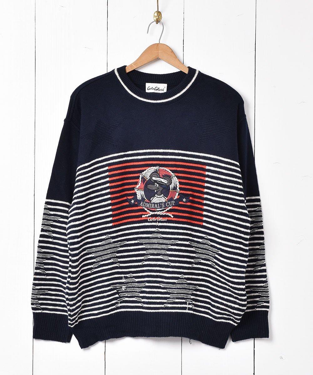 古着 ドイツ製 アドミラルズカップ 刺繍 コットンニットセーター 古着 ネット 通販 古着屋グレープフルーツムーン