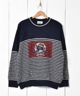 古着ドイツ製 アドミラルズカップ 刺繍 コットンニットセーター 古着のネット通販 古着屋グレープフルーツムーン