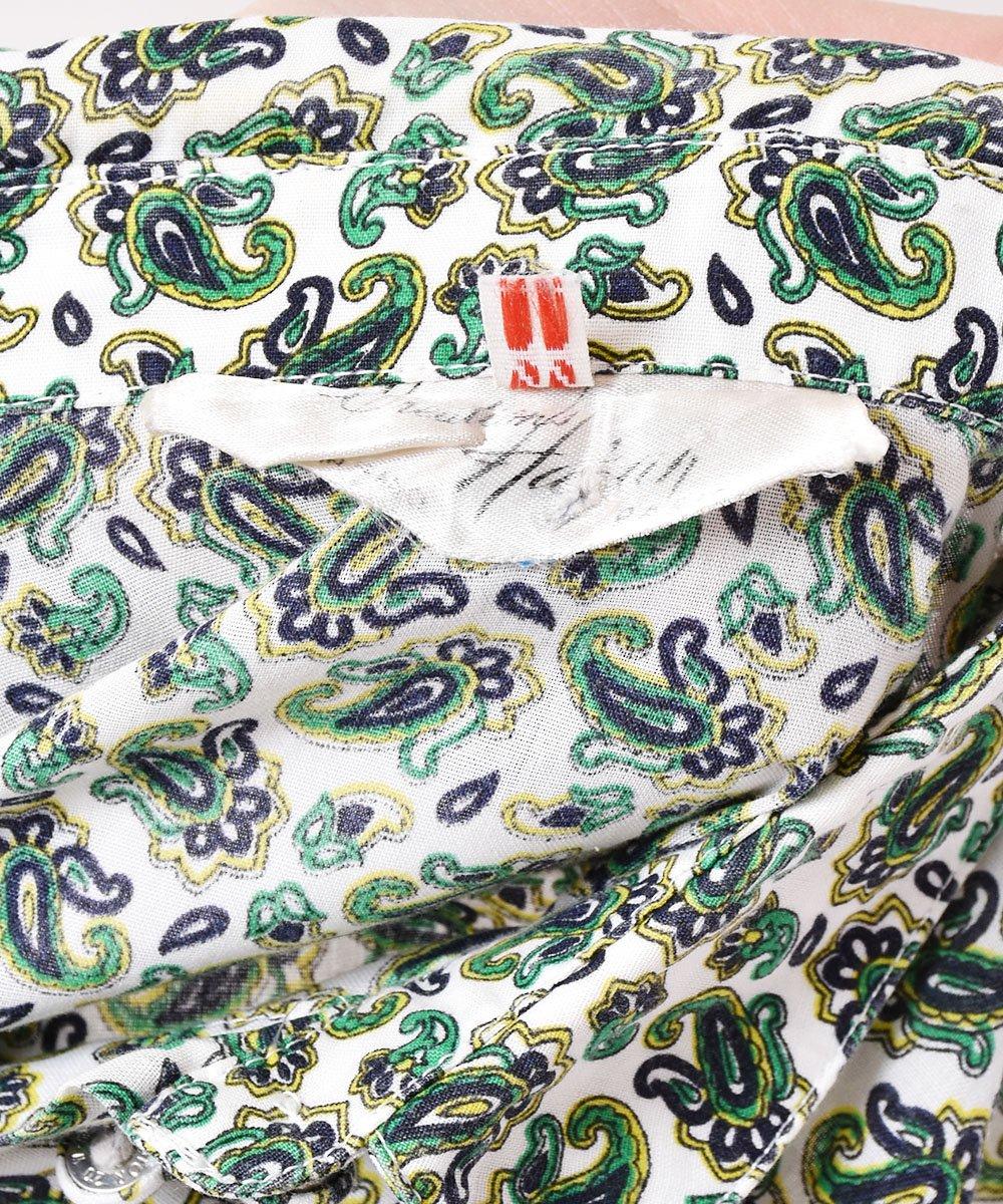 フランス製 ペイズリー総柄シャツ グリーンサムネイル