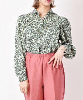 古着フランス製 ペイズリー総柄シャツ グリーン 古着のネット通販 古着屋グレープフルーツムーン