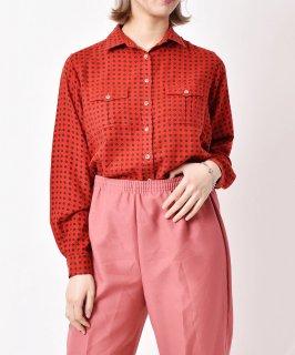 古着「Liz Claiborne」総柄 ロングスリーブシャツ レッド 古着のネット通販 古着屋グレープフルーツムーン