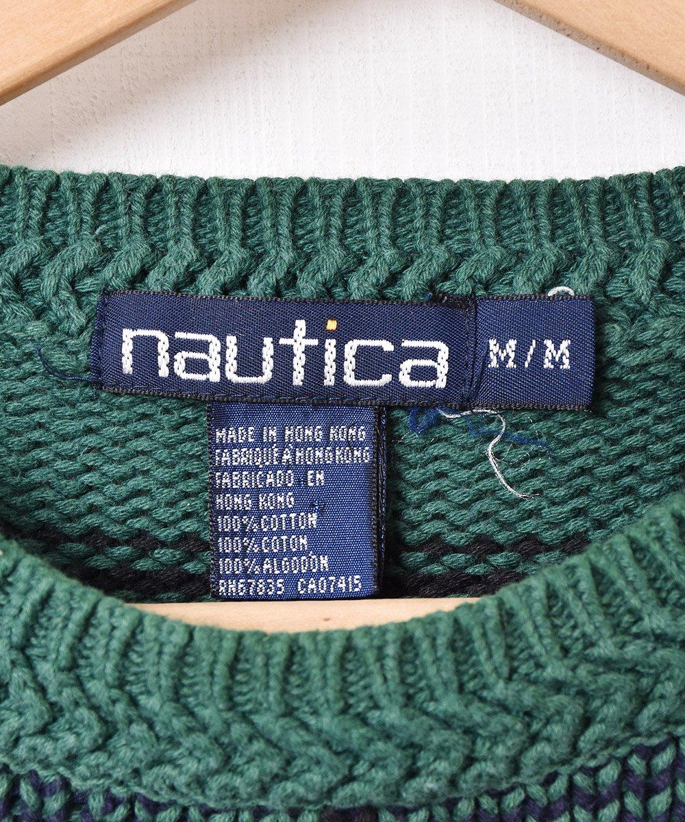 「nautica」ワイドチェック コットンニットセーターサムネイル