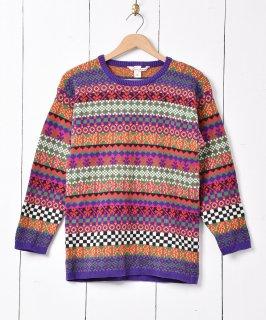 古着フェアアイル調 クルーネック セーター マルチカラー 古着のネット通販 古着屋グレープフルーツムーン