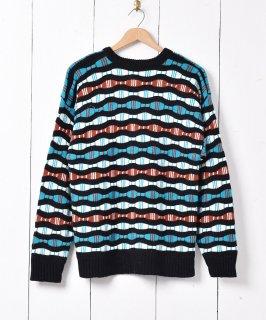 古着アメリカ製 ラウンド柄 立体編み 3Dニットセーター マルチカラー 古着のネット通販 古着屋グレープフルーツムーン
