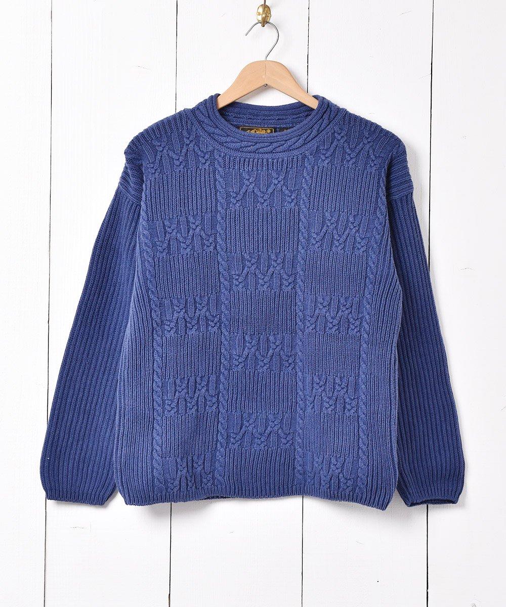古着 「Eddie Bauer 」ケーブル編み ニットセーター ネイビー 古着 ネット 通販 古着屋グレープフルーツムーン
