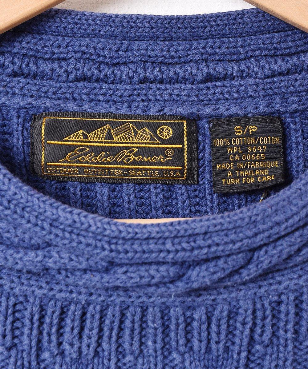 「Eddie Bauer 」ケーブル編み ニットセーター ネイビーサムネイル