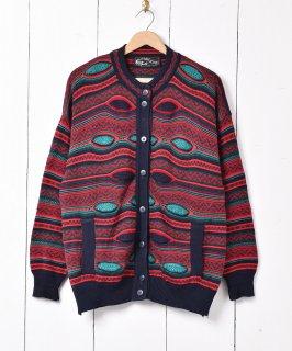 古着アイルランド製 立体編み カーディガン マルチカラー 古着のネット通販 古着屋グレープフルーツムーン