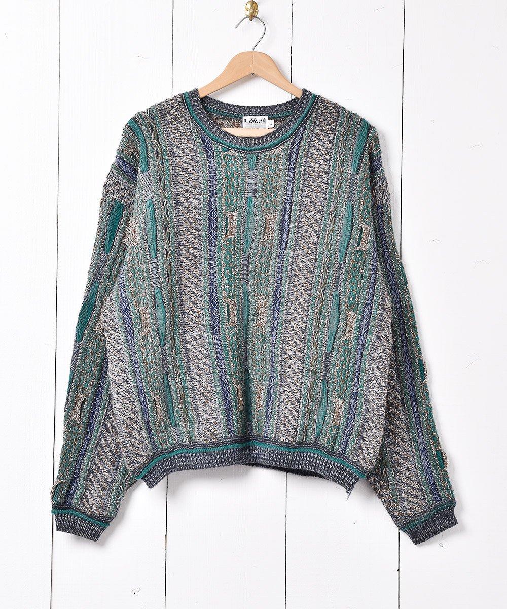 古着 立体編み 3Dニットセーター グリーン系 古着 ネット 通販 古着屋グレープフルーツムーン