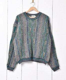 古着立体編み 3Dニットセーター グリーン系 古着のネット通販 古着屋グレープフルーツムーン