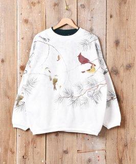 古着野鳥 総柄 プリント スウェットシャツ  古着のネット通販 古着屋グレープフルーツムーン