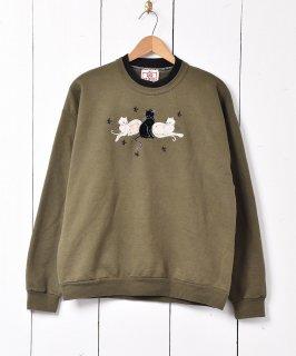 古着アメリカ製 アニマル パッチスウェットシャツ ネコ 古着のネット通販 古着屋グレープフルーツムーン