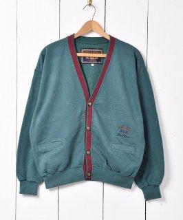 古着ラインデザイン スウェット カーディガン グリーン 古着のネット通販 古着屋グレープフルーツムーン
