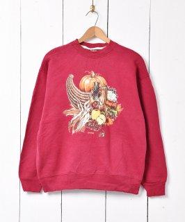 古着油絵風 カントリー 野菜 フルーツ プリント スウェットシャツ  古着のネット通販 古着屋グレープフルーツムーン