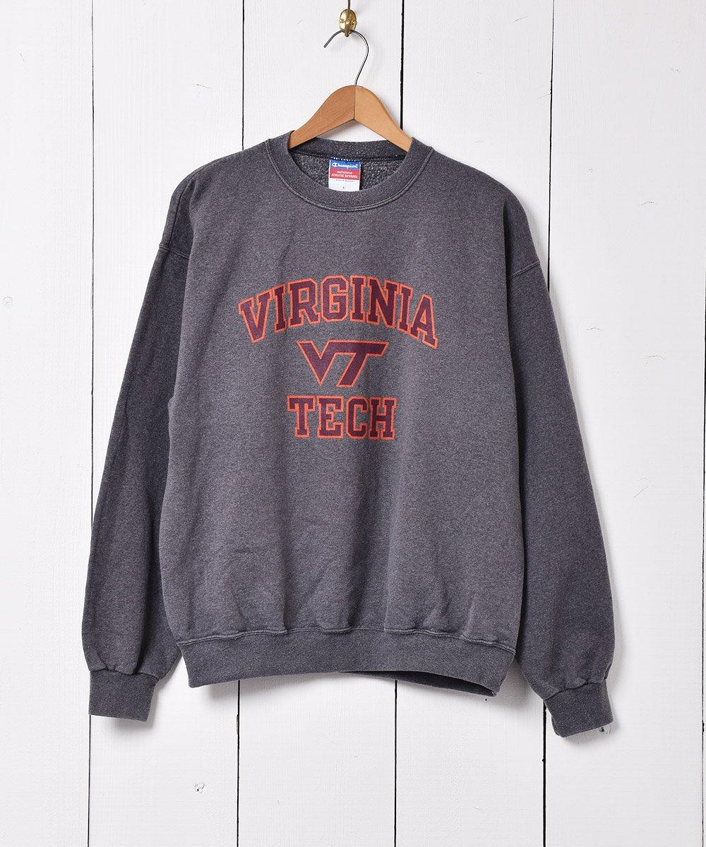 古着 「Champion」バージニア工科大学 プリントスウェットシャツ チャコールグレー 古着 ネット 通販 古着屋グレープフルーツムーン