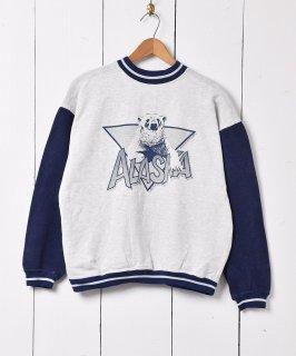 古着アラスカ 白クマ アニマルプリント スウェットシャツ ホワイト 古着のネット通販 古着屋グレープフルーツムーン