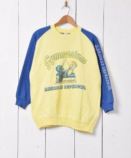 古着アメリカンスーパーボール ギムナジウム  2トーンカラー 袖プリント スウェットシャツ 古着のネット通販 古着屋グレープフルーツムーン