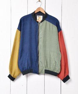 古着シルク クレイジーパターン ブルゾンジャケット 古着のネット通販 古着屋グレープフルーツムーン
