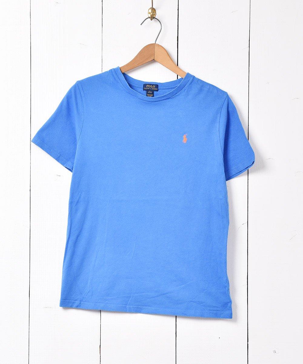 古着 「RALPH LAUREN」刺繍 ワンポイントポニーロゴ クルーネック  Tシャツ ブルー 古着 ネット 通販 古着屋グレープフルーツムーン