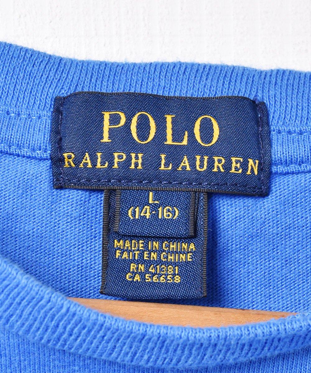 「RALPH LAUREN」刺繍 ワンポイントポニーロゴ クルーネック  Tシャツ ブルーサムネイル