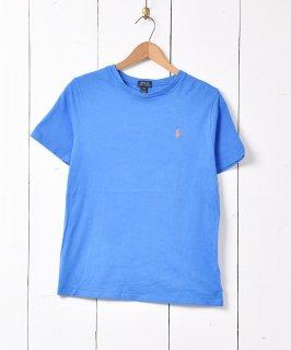 古着「RALPH LAUREN」刺繍 ワンポイントポニーロゴ クルーネック  Tシャツ ブルー 古着のネット通販 古着屋グレープフルーツムーン