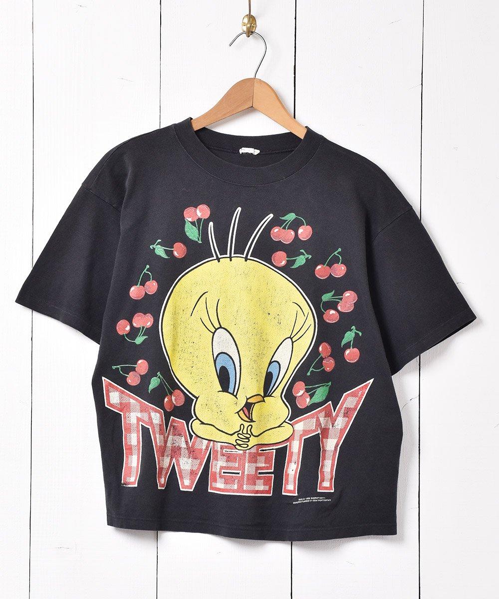古着 90's ルーニー・テューンズ 「トゥイーティー」チェリープリント Tシャツ ブラック 古着 ネット 通販 古着屋グレープフルーツムーン