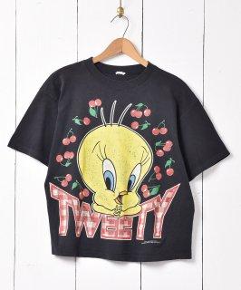 古着90's ルーニー・テューンズ 「トゥイーティー」チェリープリント Tシャツ ブラック 古着のネット通販 古着屋グレープフルーツムーン